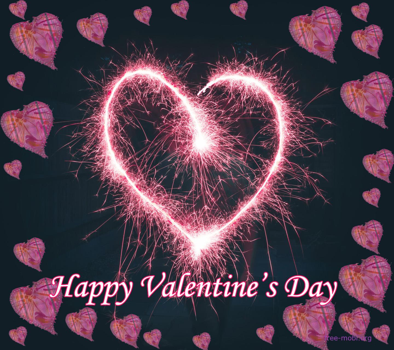 Обои - Блестящее сердечко в день Валентина