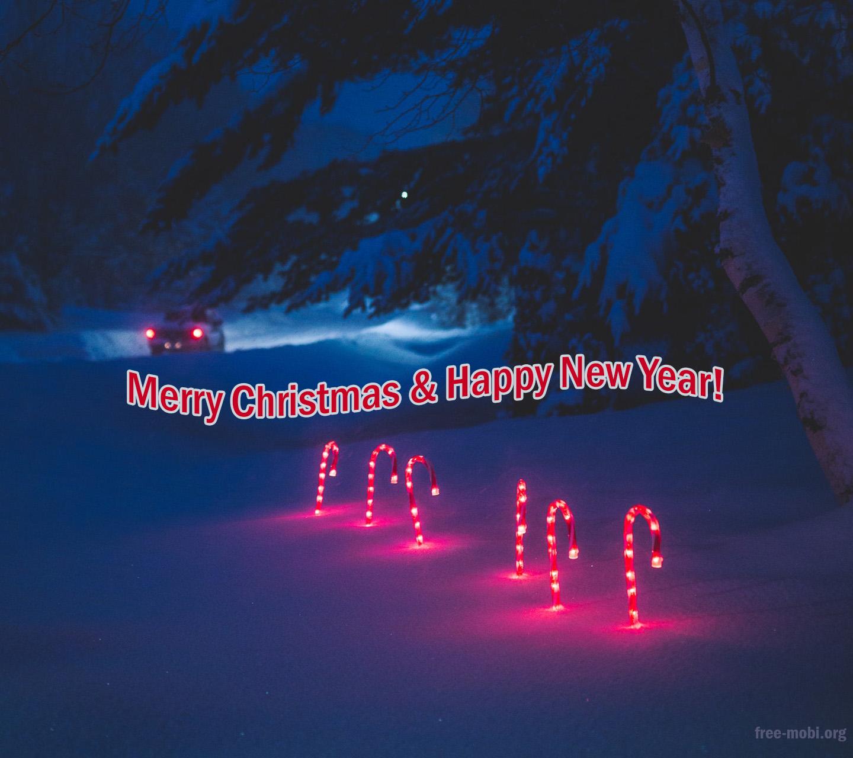 Обои - Красный свет от новогодних украшений на снегу
