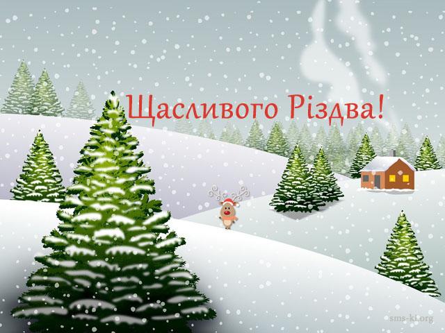 Листівка - Щасливого Різдва картинка з ялинками і снігом