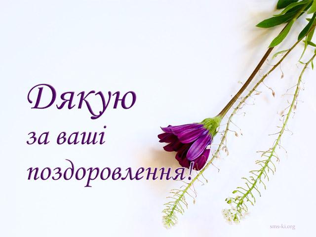 Листівка - Дякую за поздоровлення