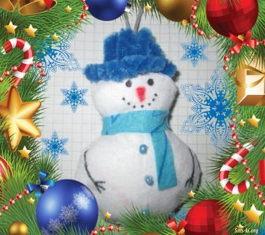 Открытка Снеговик игрушка на елку
